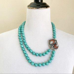 Heidi Daus Koi Fish Necklace Turquoise Rhinestone